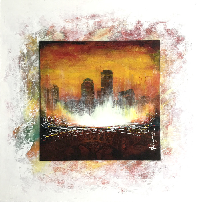 painting urban skyline landscape