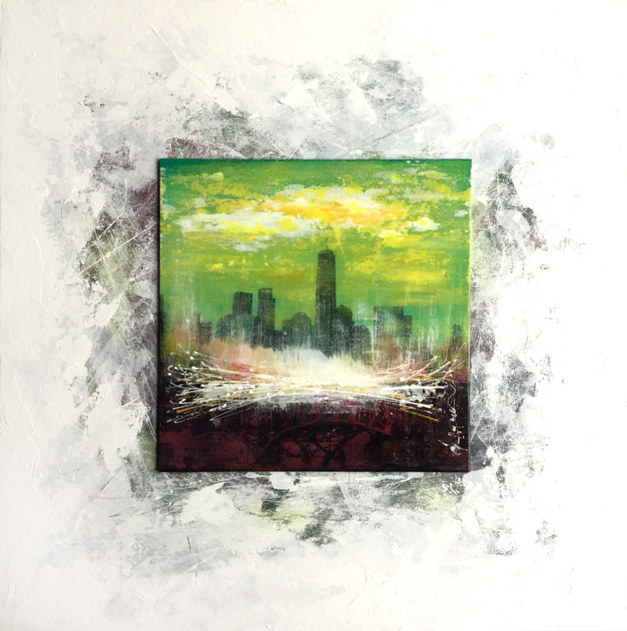 peinture skyline abstract landscape