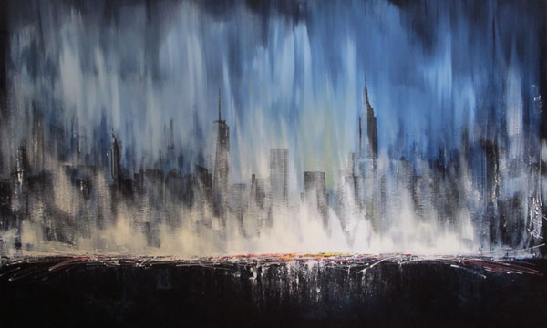 painting abstract landscape skyline